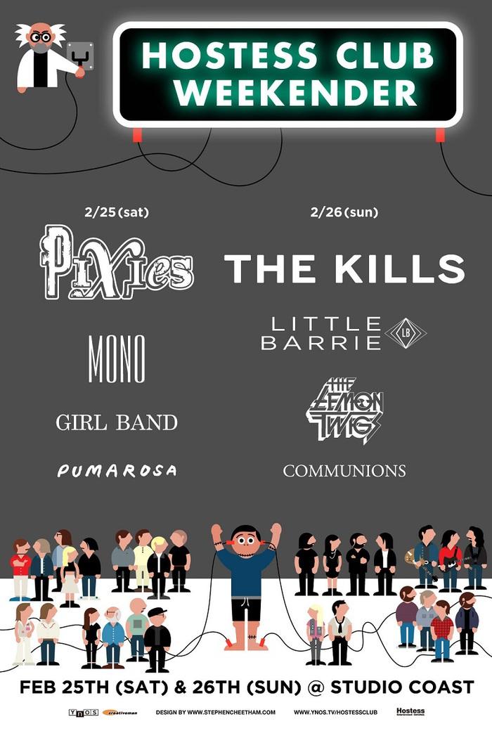 "PIXIES、THE KILLS、MONOら出演。2/25-26に新木場STUDIO COASTにて開催される""Hostess Club Weekender""、タイムテーブル公開"