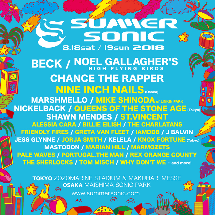 """""""SUMMER SONIC 2018""""、第2弾出演アーティストにST.VINCENT、QUEENS OF THE STONE AGE、FRIENDLY FIRES、Alessia Caraら20組決定。大阪公演にNINE INCH NAILS出演も"""