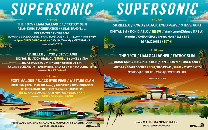 """SUPERSONIC""、第4弾アーティストで石野卓球、藤井 風、origami SUPERSONIC sessions、SKY-HI発表。BiSH大阪追加出演、OA第1弾でOmoinotake、ステレオガールらも決定"