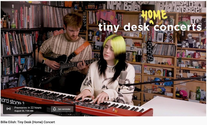 "Billie Eilish、ライヴ・パフォーマンス企画""Tiny Desk Concert""に出演。本日23時プレミア公開"