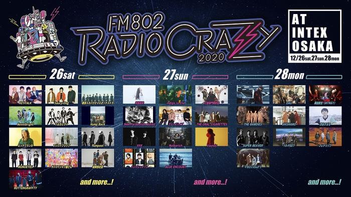"""FM802 RADIO CRAZY""、出演者にKEYTALK、ブルエン、クリープ、9mm、ビーバー、オーラル、ヤバT、indigo la End、マカロニえんぴつ、ビッケブランカ、阿部真央ら決定"