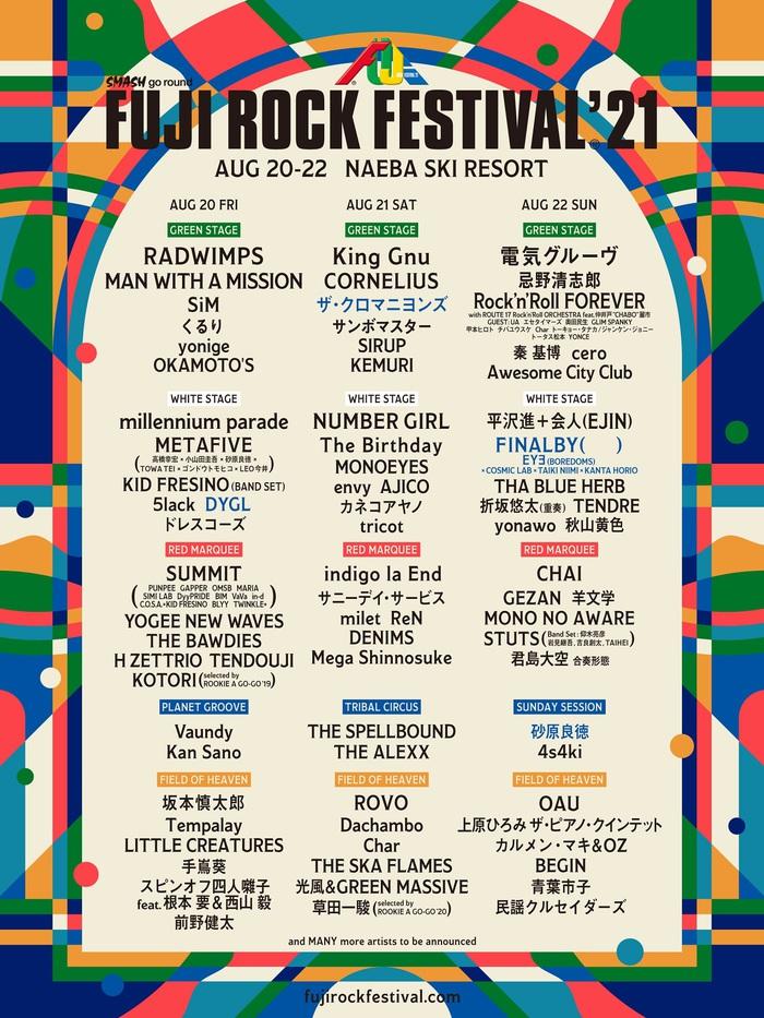 """FUJI ROCK FESTIVAL'21""、ラインナップ第3弾でザ・クロマニヨンズ、DYGL、FINALBY (     )、砂原良徳が決定。ステージ別ラインナップも発表"