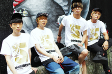"""BLUE ENCOUNT サイン入り""""RockCorps""""のタオル+キャップ+フラッグ(3名)"""